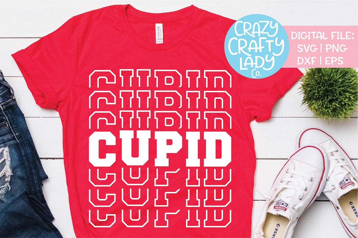 Cupid Valentine's Day Mirror Words SVG DXF EPS PNG Cut File example image 1