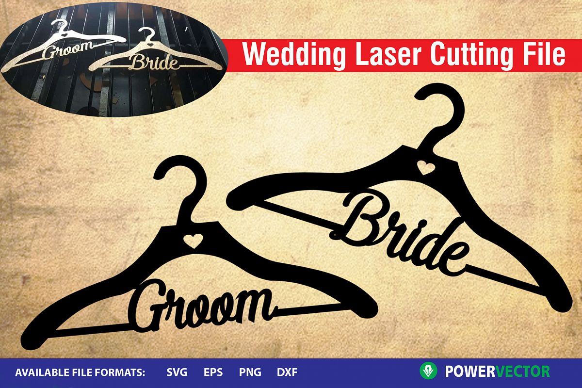 Wedding Clothe Hanger, Bride and Groom Wood Laser Cut Files example image 1