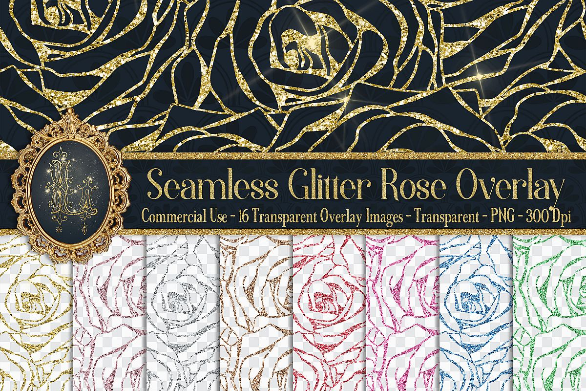 16 Seamless Glitter Rose Net Overlay Digital Images PNG example image 1