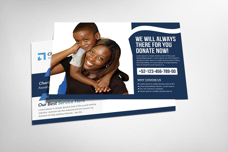 Charity Donation Postcard Template example image 1