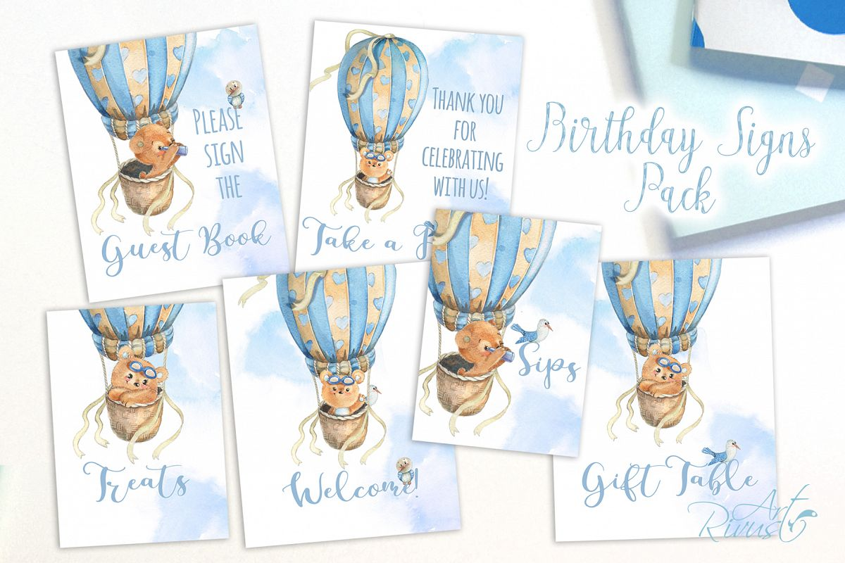 Printable Hot Air Balloons Baby Shower Table Signs - 6 Signs example image 1