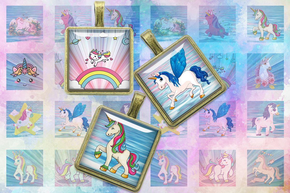 Unicorns,Unicorn Digital Collage Sheet,Square images,Unicorn example image 1