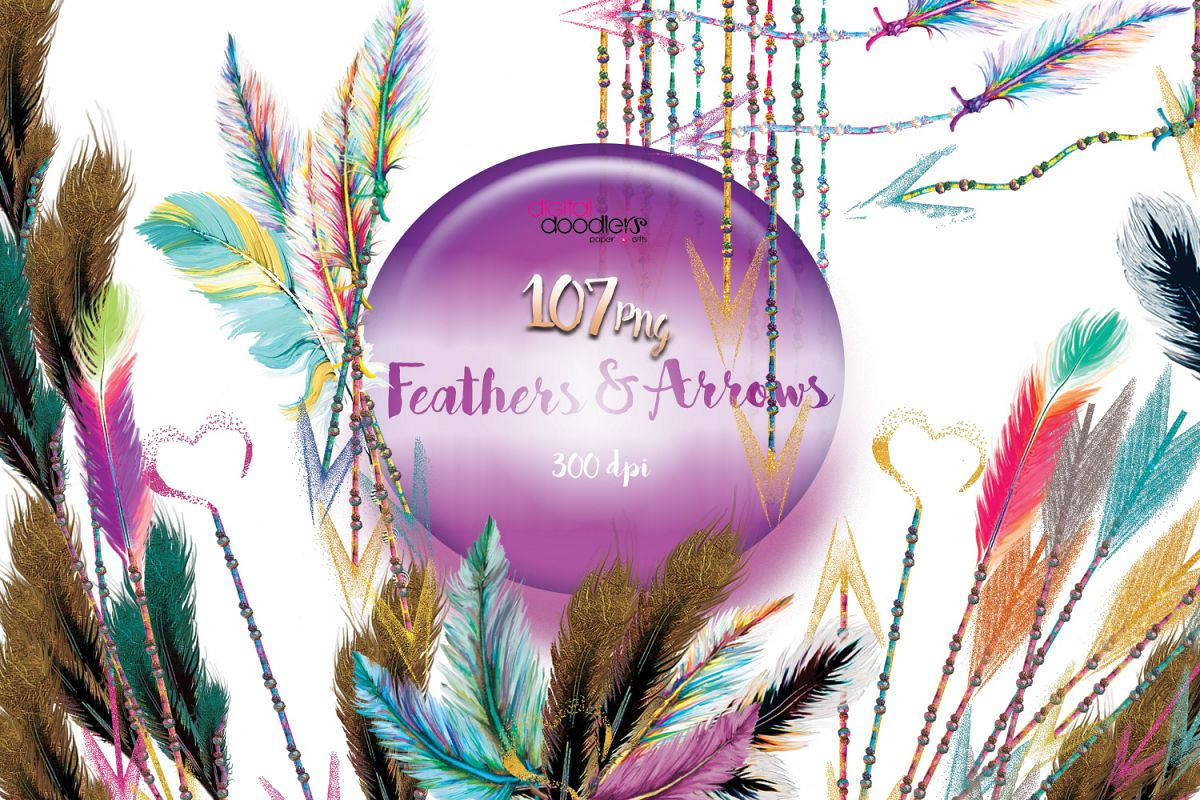 Watercolor Confetti Arrows with Feathers & Beads example image 1