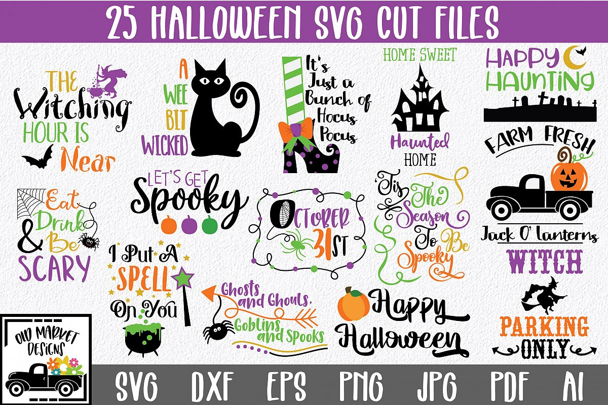 Halloween SVG Bundle with 25 SVG PNG DXF EPS JPG Cut Files example image 1