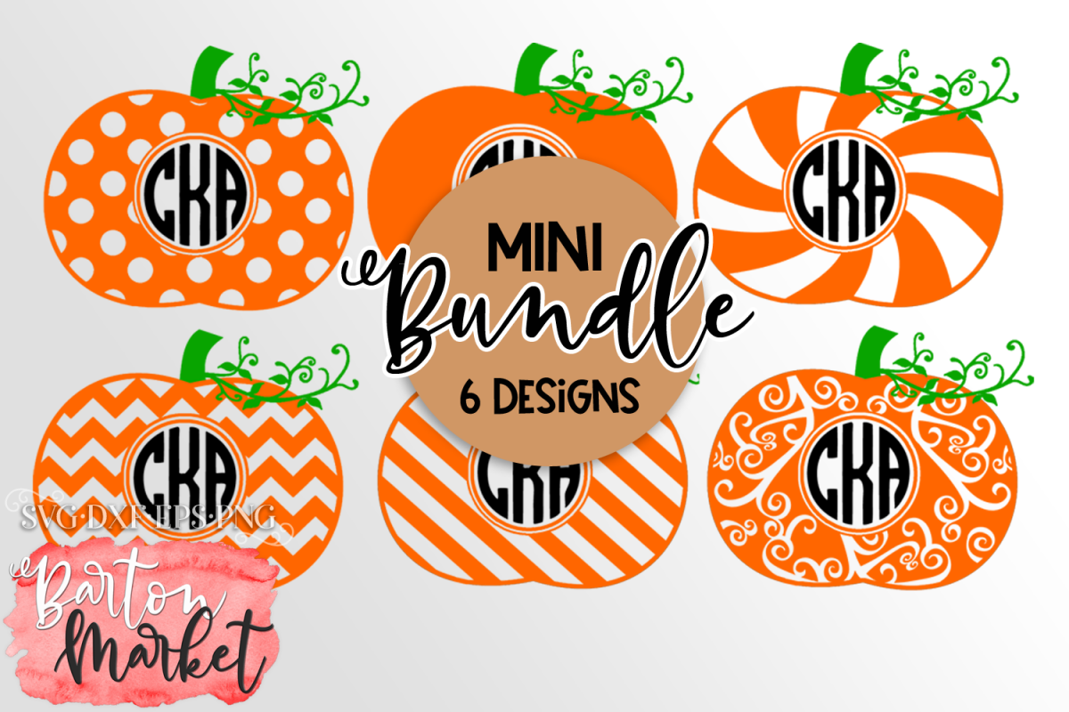 Mini BUNDLE of 6 Pumpkin Monograms SVG DXF EPS PNG example image 1