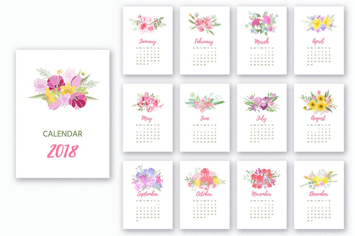Printable 2018 Calendar/Version 2 example image 1