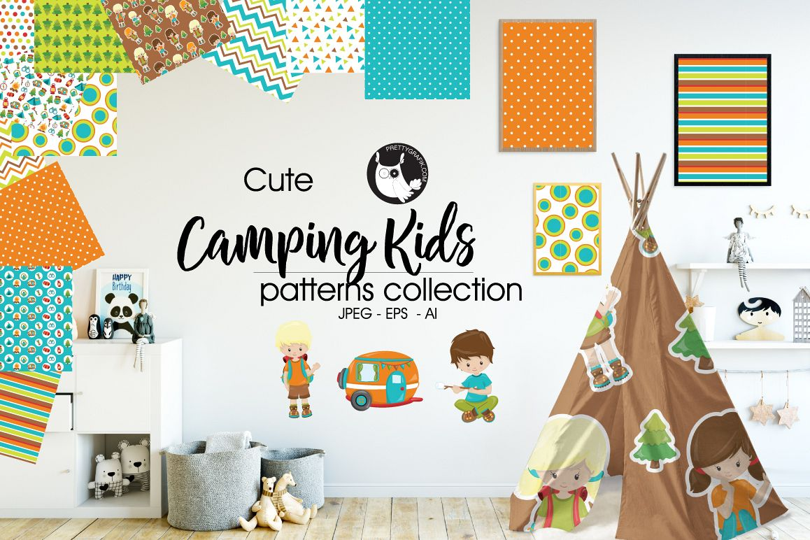 CAMPING-KIDS, digital papers example image 1