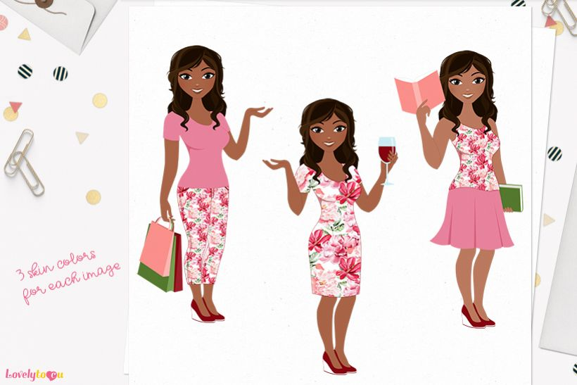 Woman lifestyle character clip art L094 Bliss example image 1