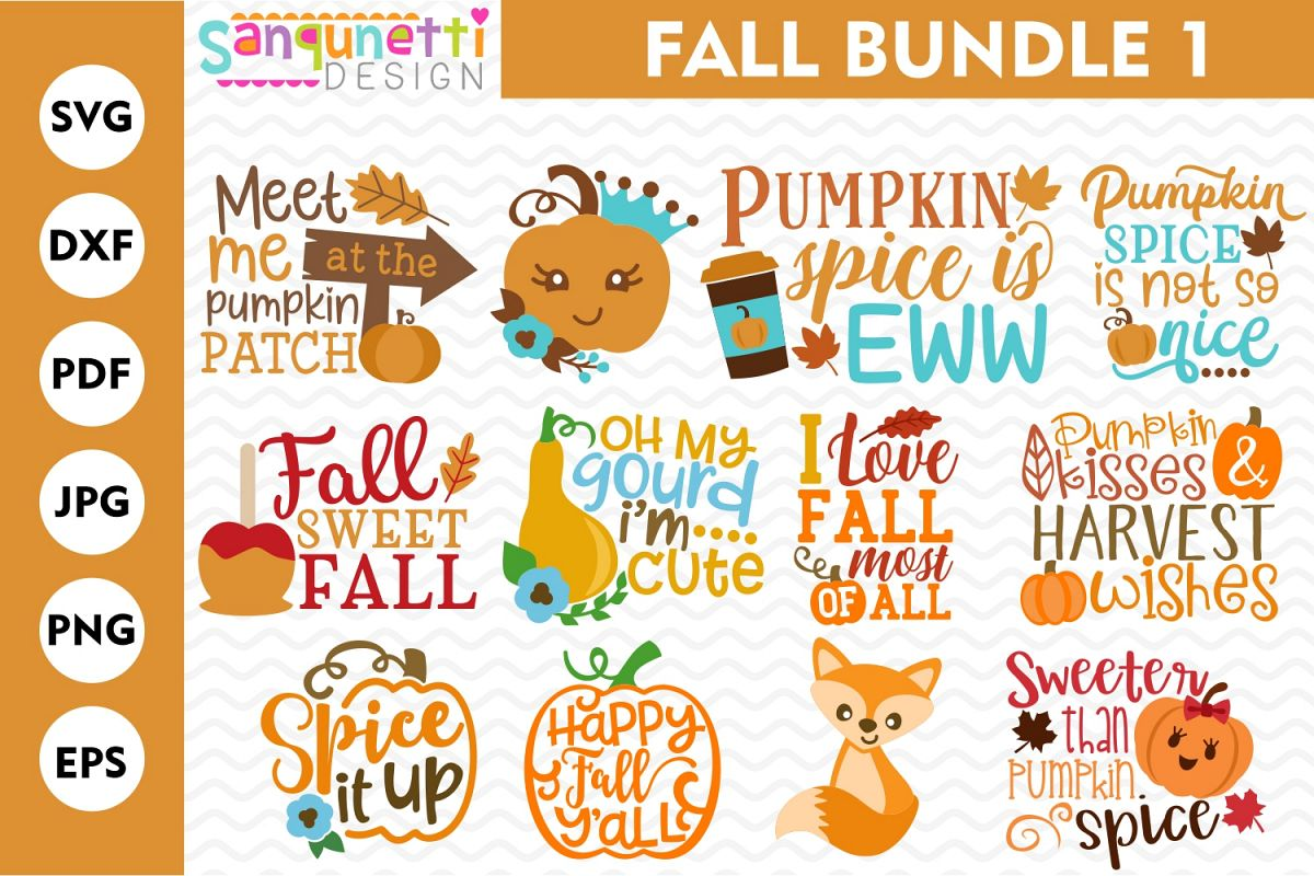 Fall SVG Bundle 1, autumn cut files example image 1