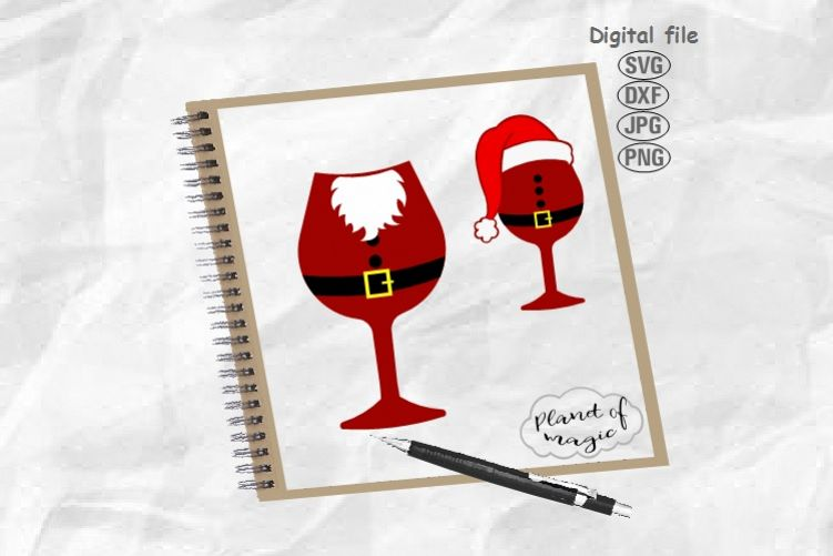 Santa Wine Glass Svg, Christmas Svg, Christmas Hat Svg example image 1