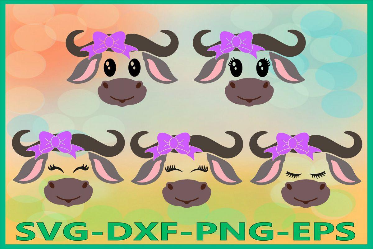 Buffalo Face SVG, Safari Animal svg, Buffalo with Bow Svg example image 1