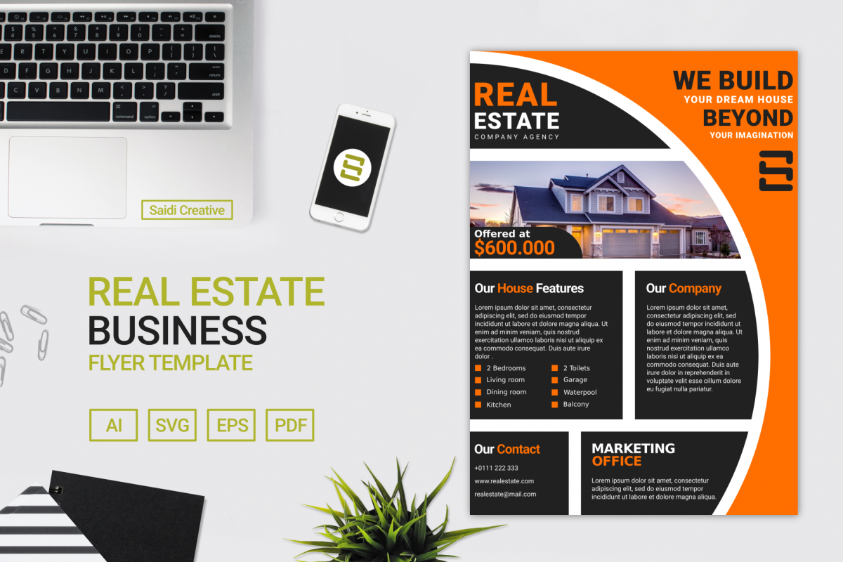 Real Estate Business Flyer Template Vector Design A4 Size