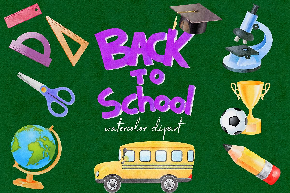 Watercolor School Clipart, Back To School example image 1