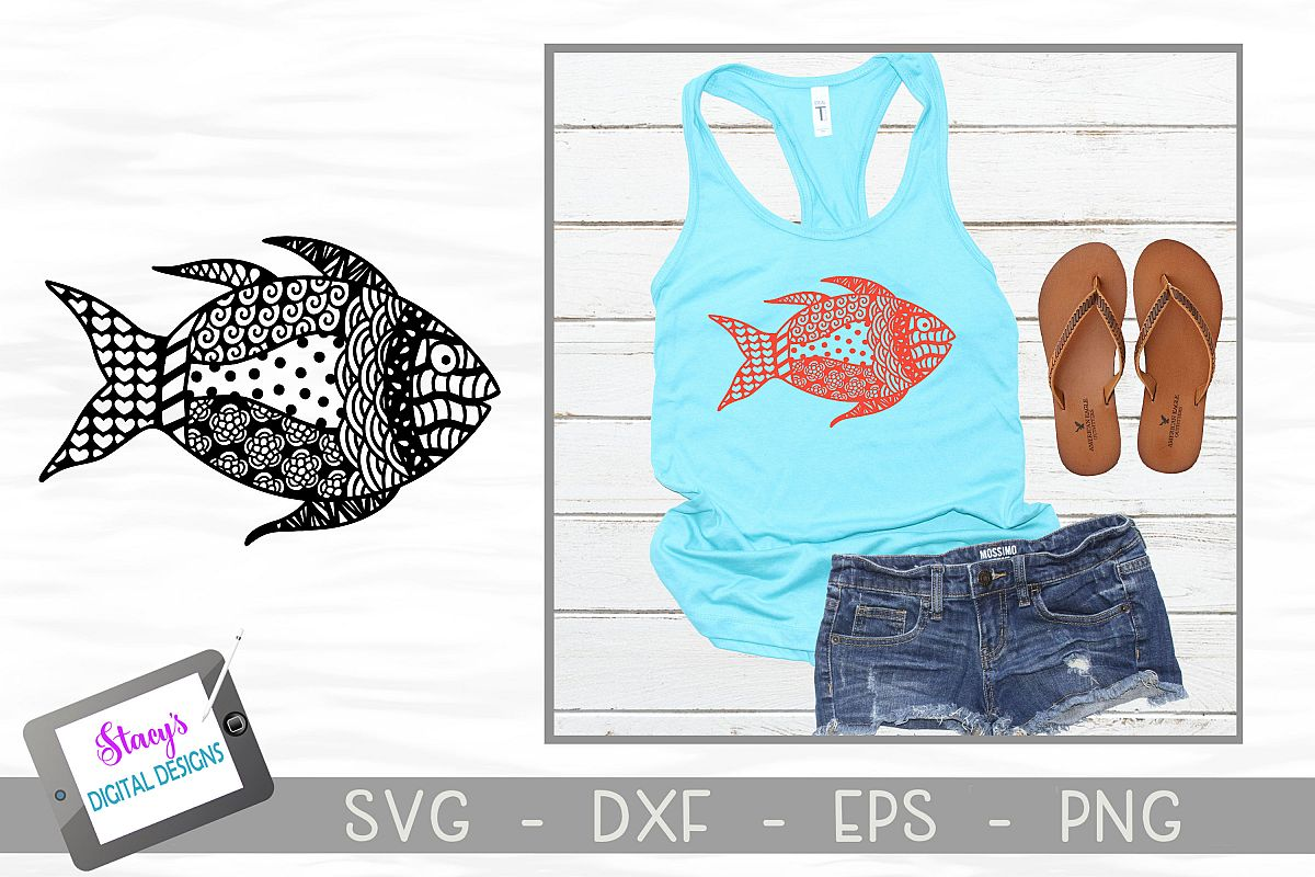 Fish SVG with Doodle patterns example image 1