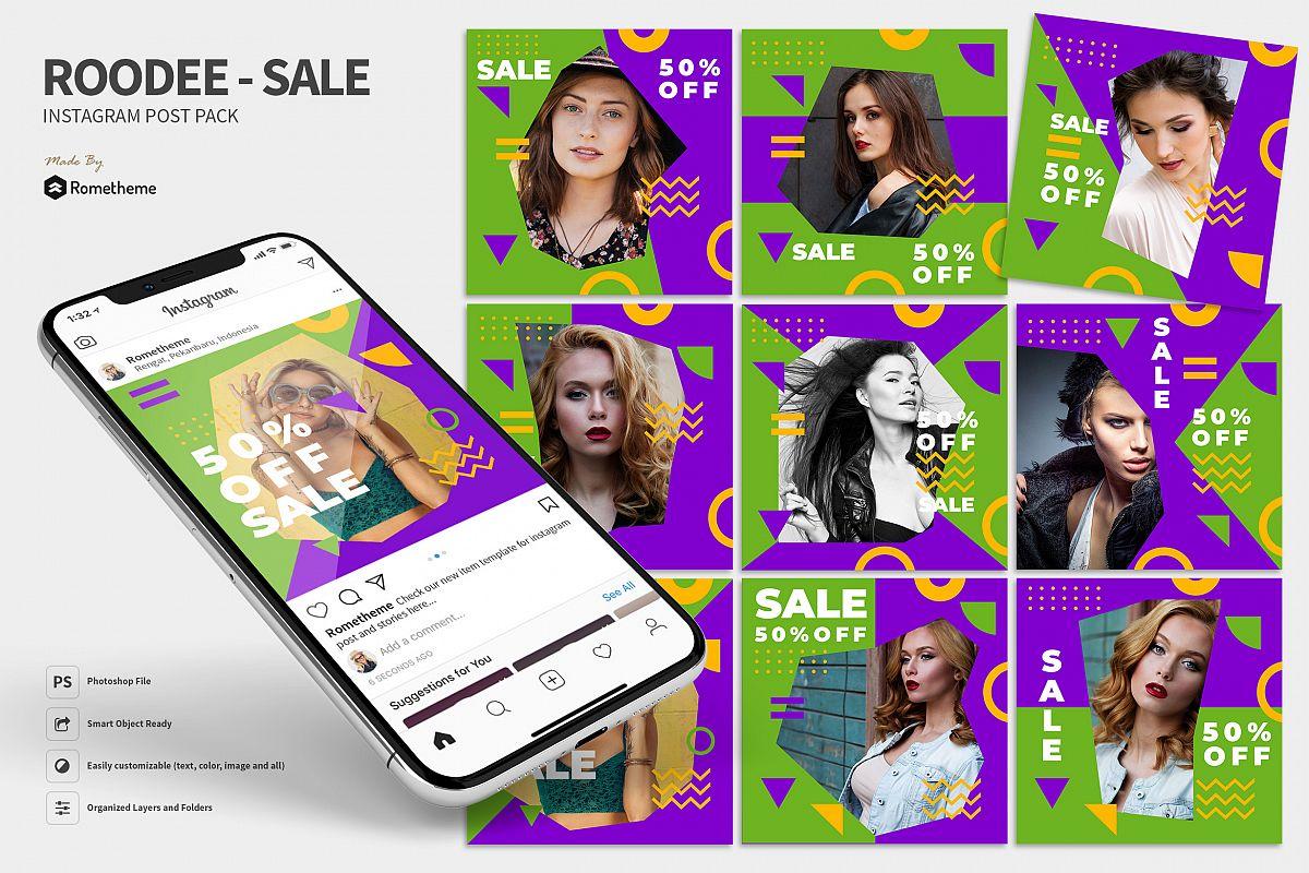 Roodee - Modern Sale Instagram Post Pack MR example image 1