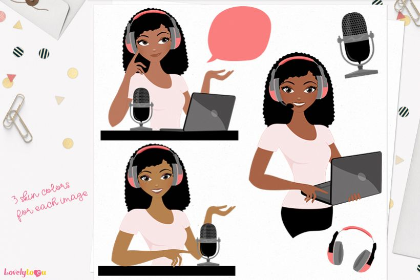 Woman podcast character clip art L266 Nelly example image 1