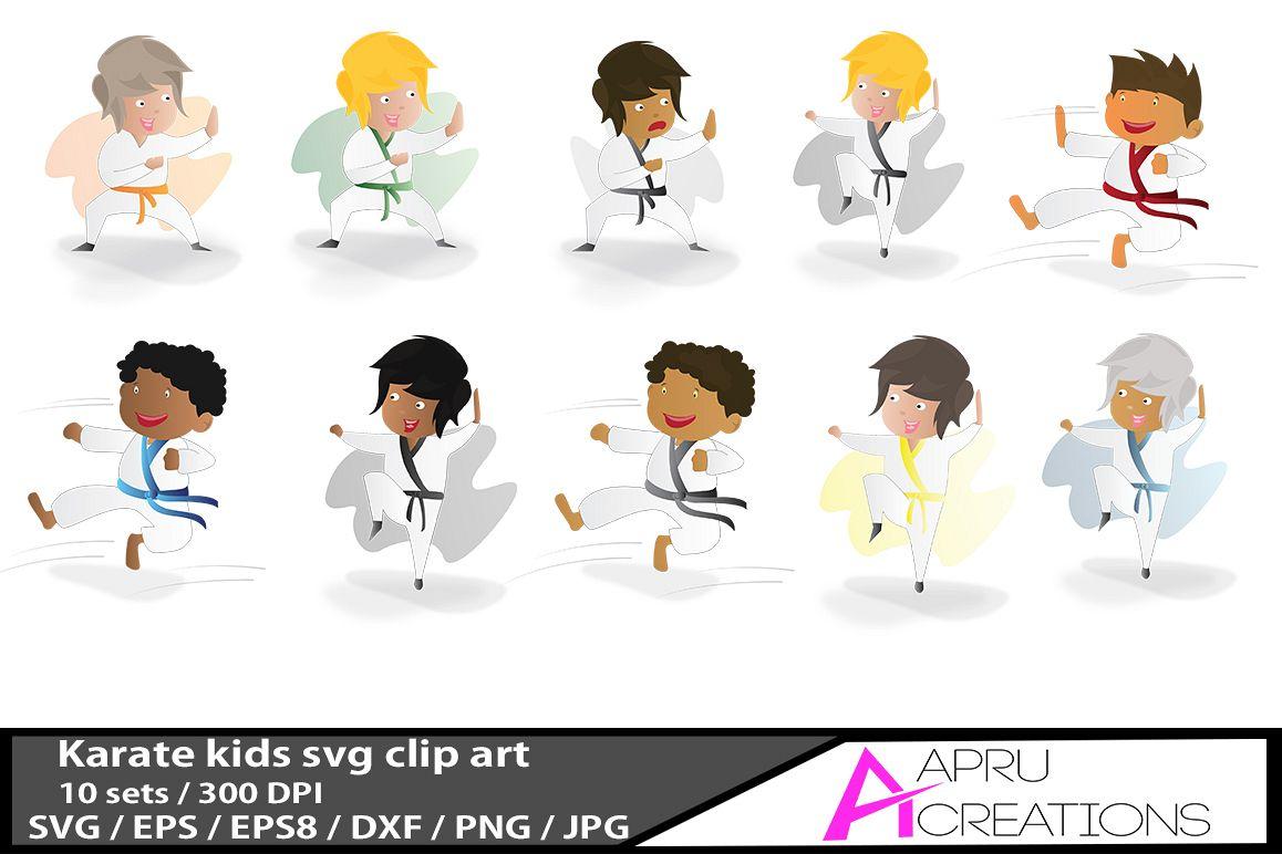 karate kids /karate kids  vector graphics / kids svg / karate kids eps  / karate  doodle example image 1