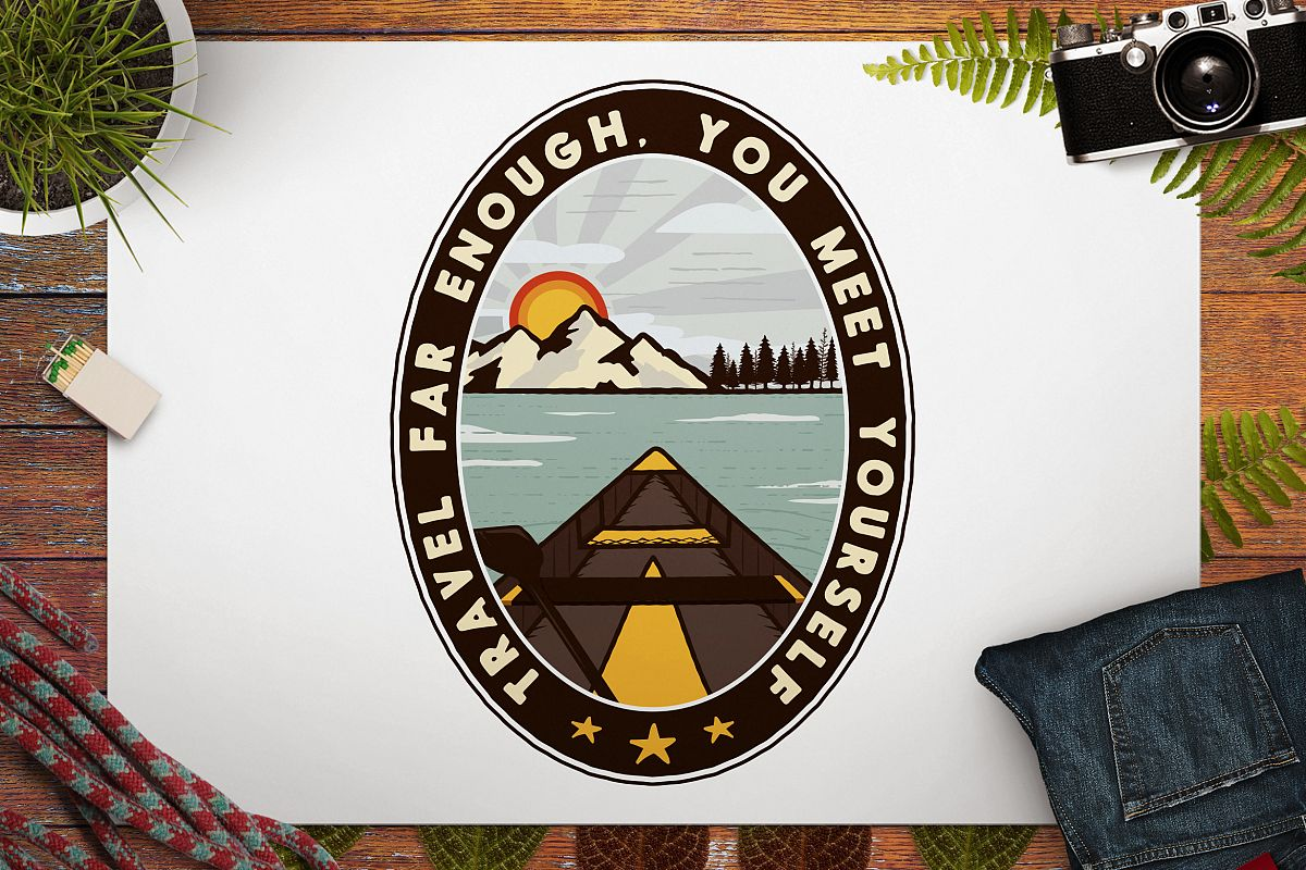 Vintage Travel Logo / Retro Mountain Badge example image 1