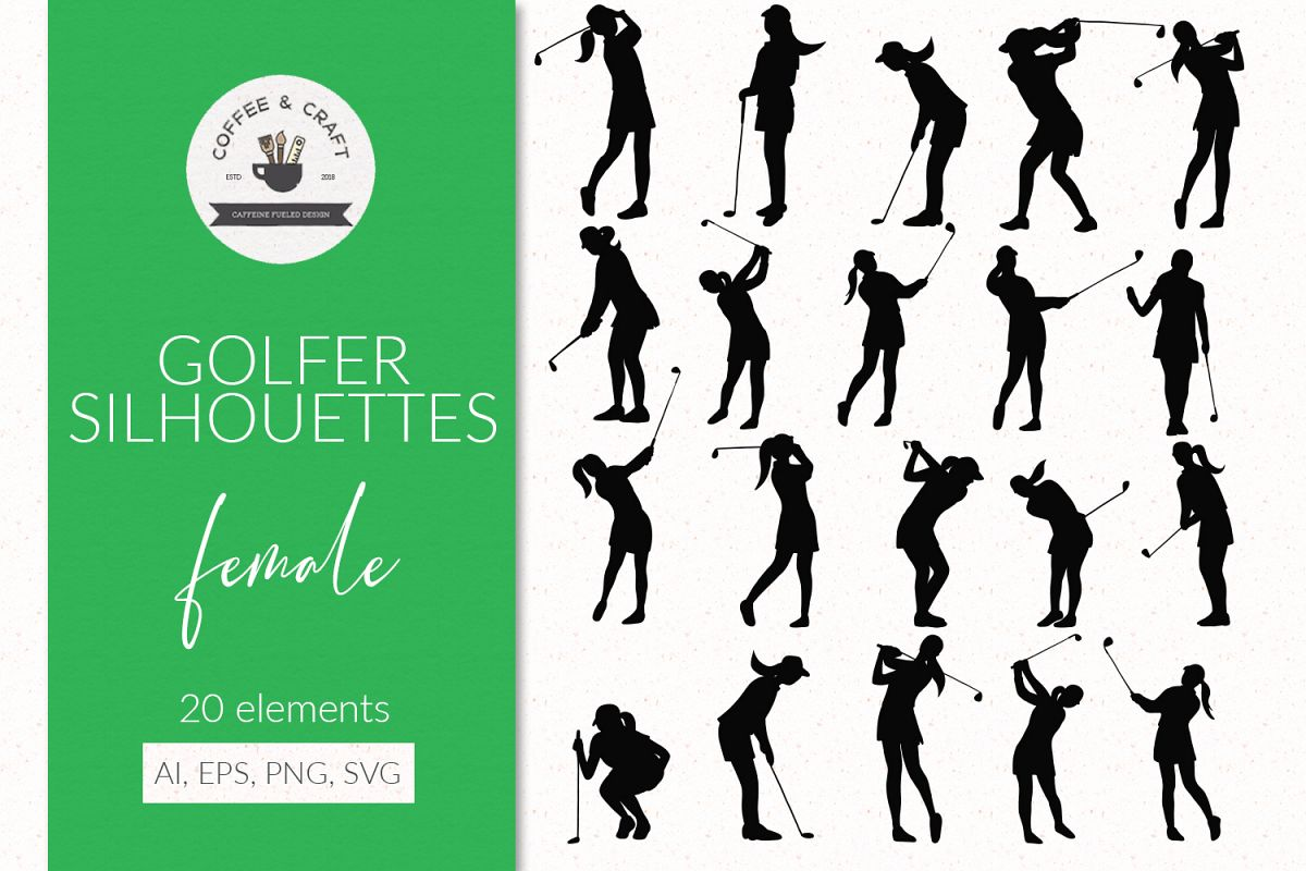 Golfer silhouettes female example image 1