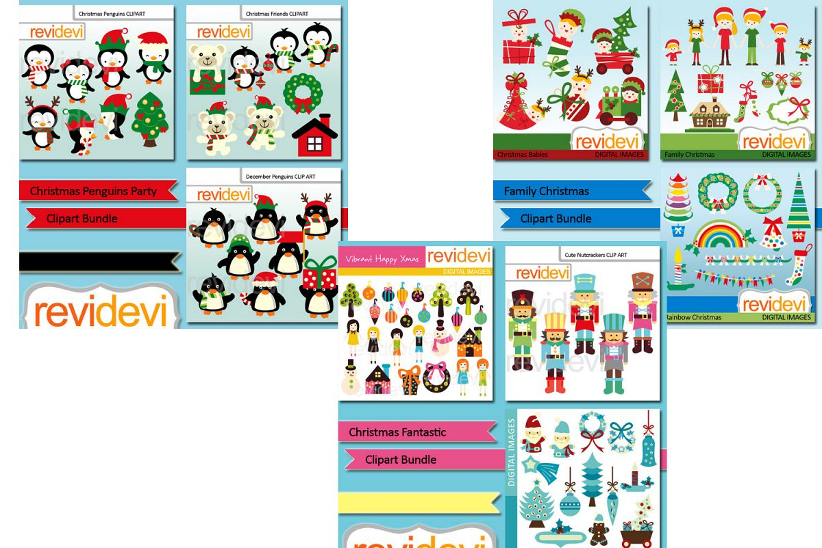 big christmas party clipart big bundle graphic illustrations example image 1