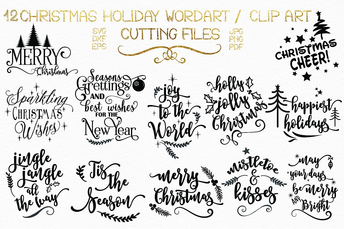 Christmas Sayings.12 Christmas Holiday Sayings Wordartclipart Elements