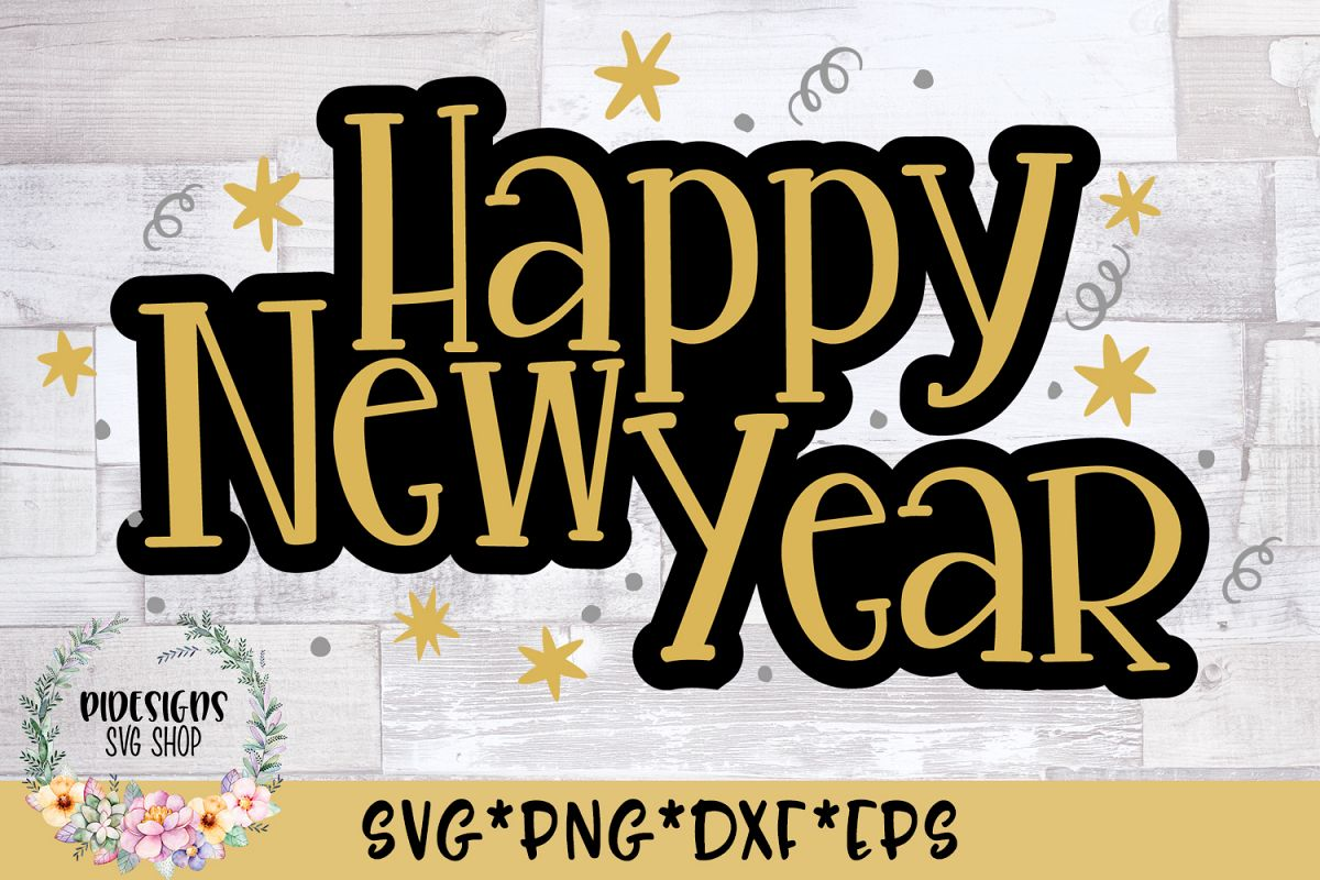 Happy New Year Party SVG Cut File example image 1