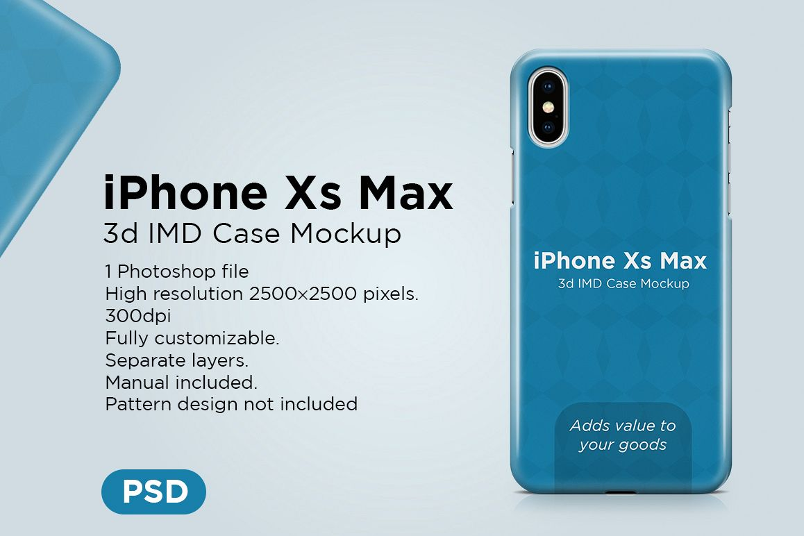 Apple iPhone Xs Max 3d IMD Case Mockup example image 1