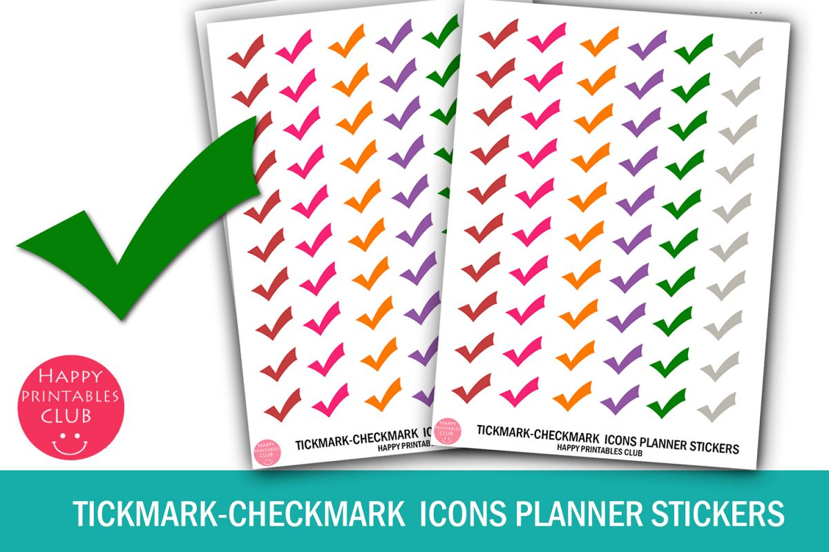 Tickmark-Checkmark Icons Planner Stickers-Tickmark Stickers example image 1