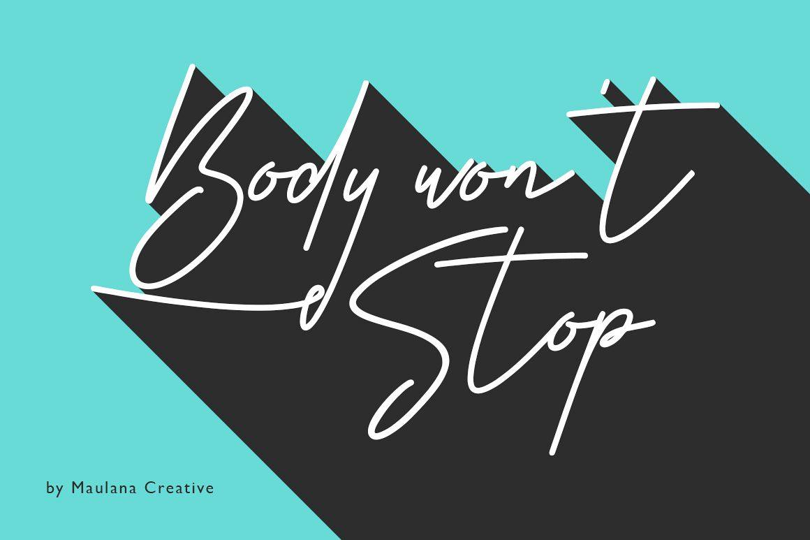 Body Won't Stop - Signature Font example image 1