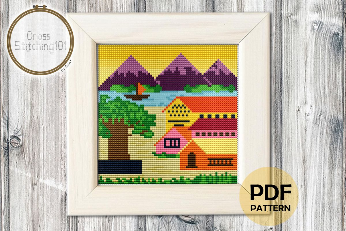 Village Scene Cross Stitch Pattern - Instant Download PDF example image 1
