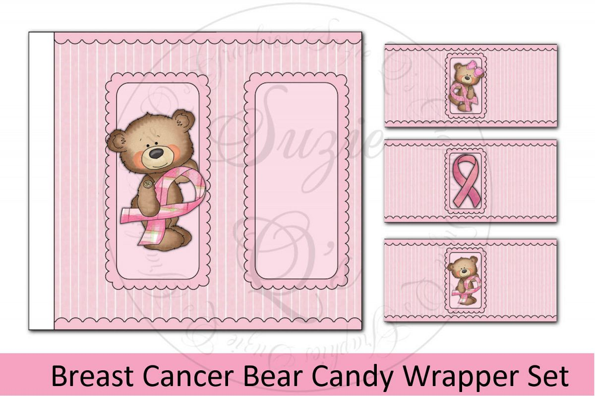 Breast Cancer Bear Candy Bar Wrapper Set example image 1