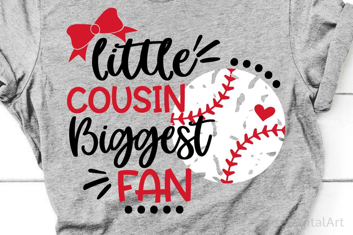Little Cousin Biggest Fan Svg, Baseball Sister Svg, Baseball example image 1