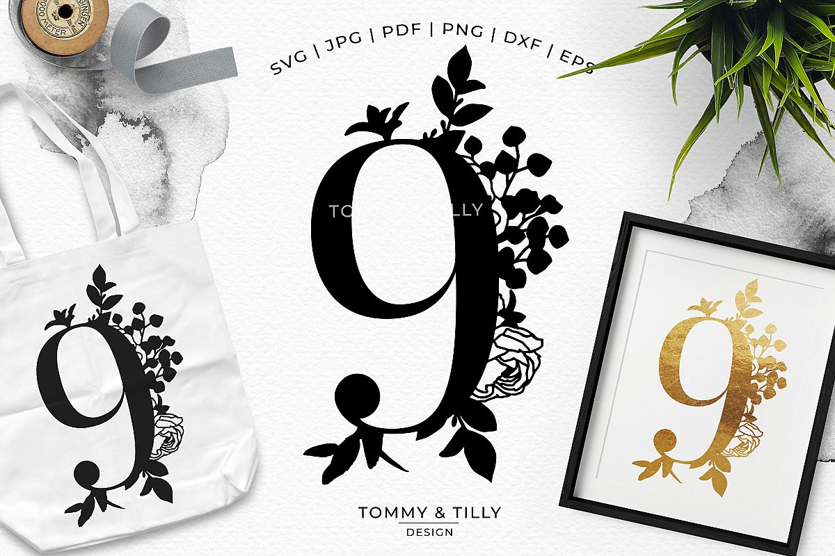 9 Floral Bouquet Number Design - Paper Cut SVG EPS DXF PNG P example image 1