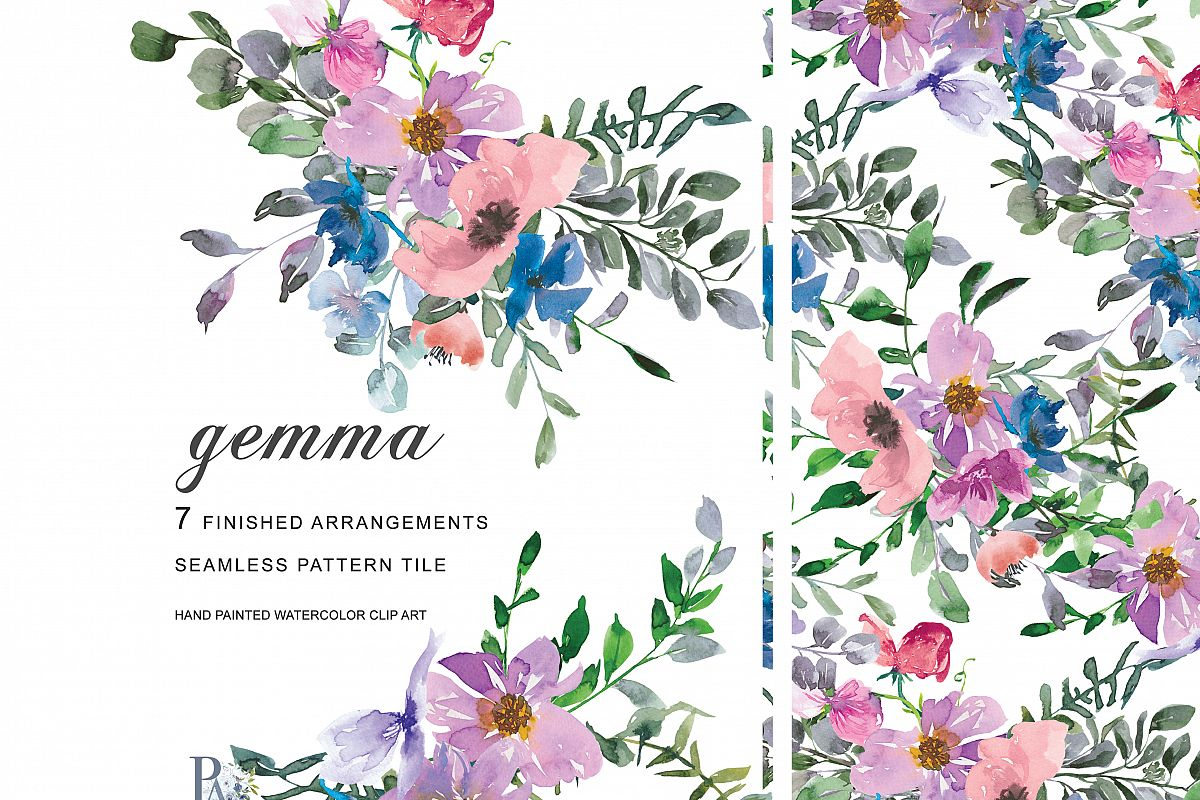 Watercolor Blush Pink Purple Blue Flowers Clipart Example Image 1