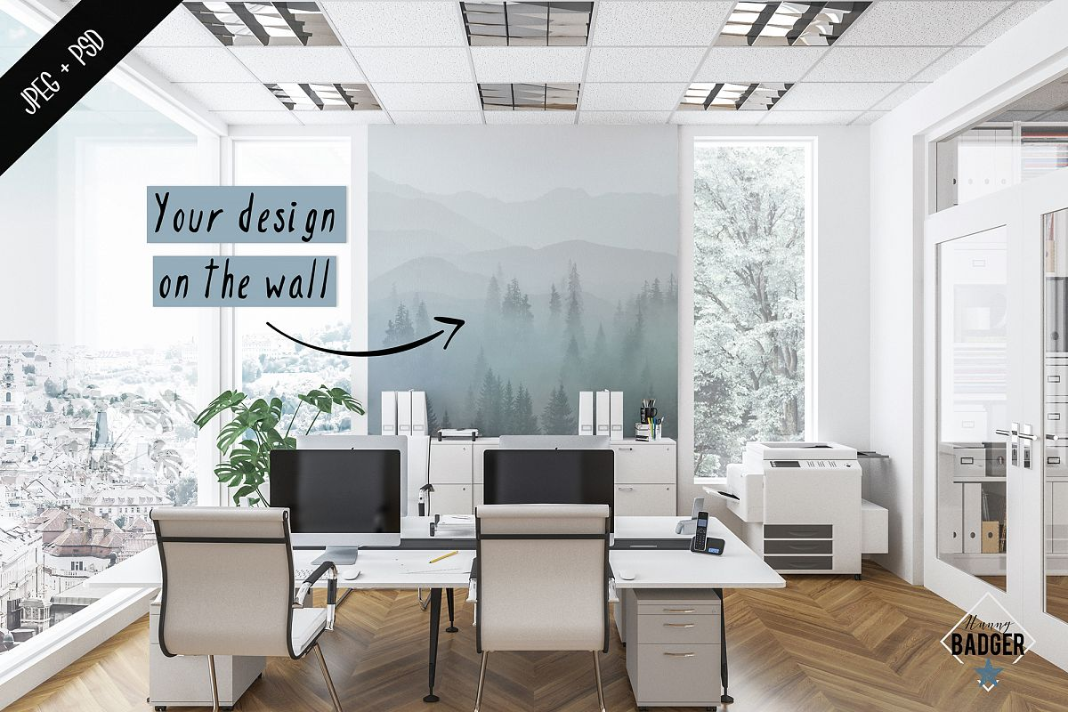 Office interior mockup - frame & wall mockup creator example image 1