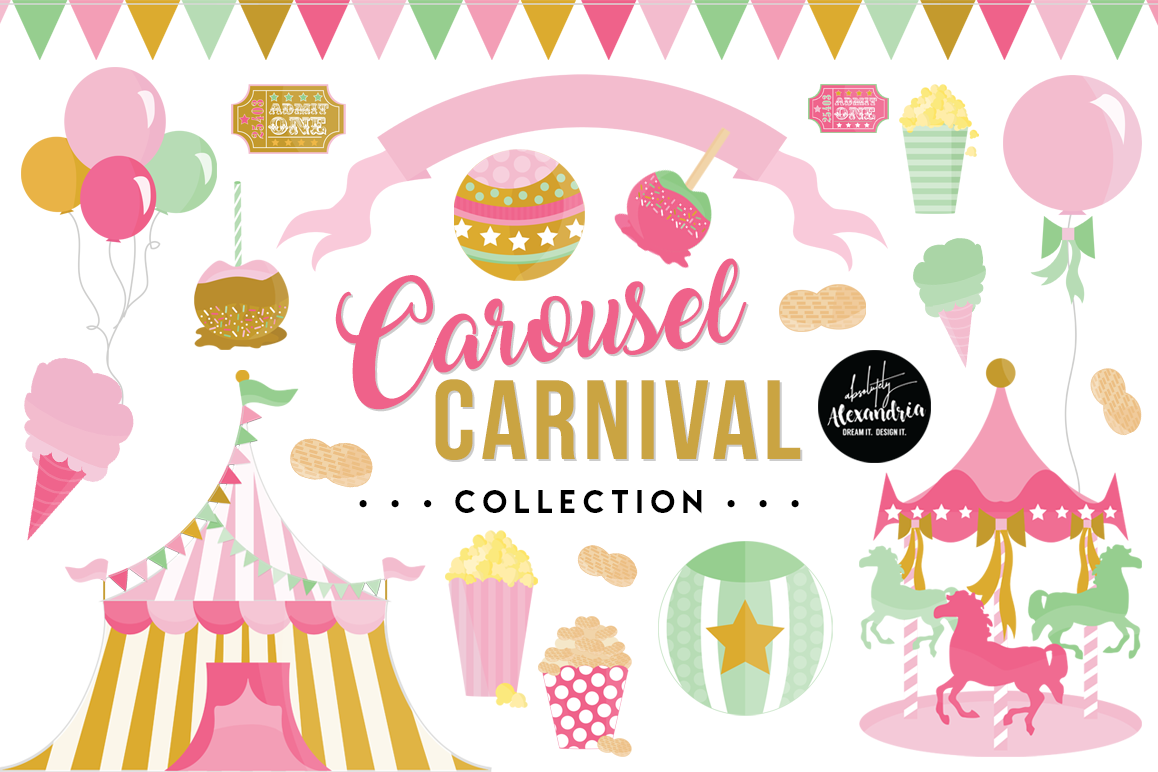 Carousel Carnival Clipart Graphics & Digital Paper Patterns Bundle example image 1