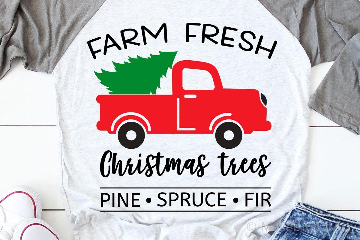 Farm Fresh Christmas Trees Svg, Christmas Svg, Red Truck Svg example image 1