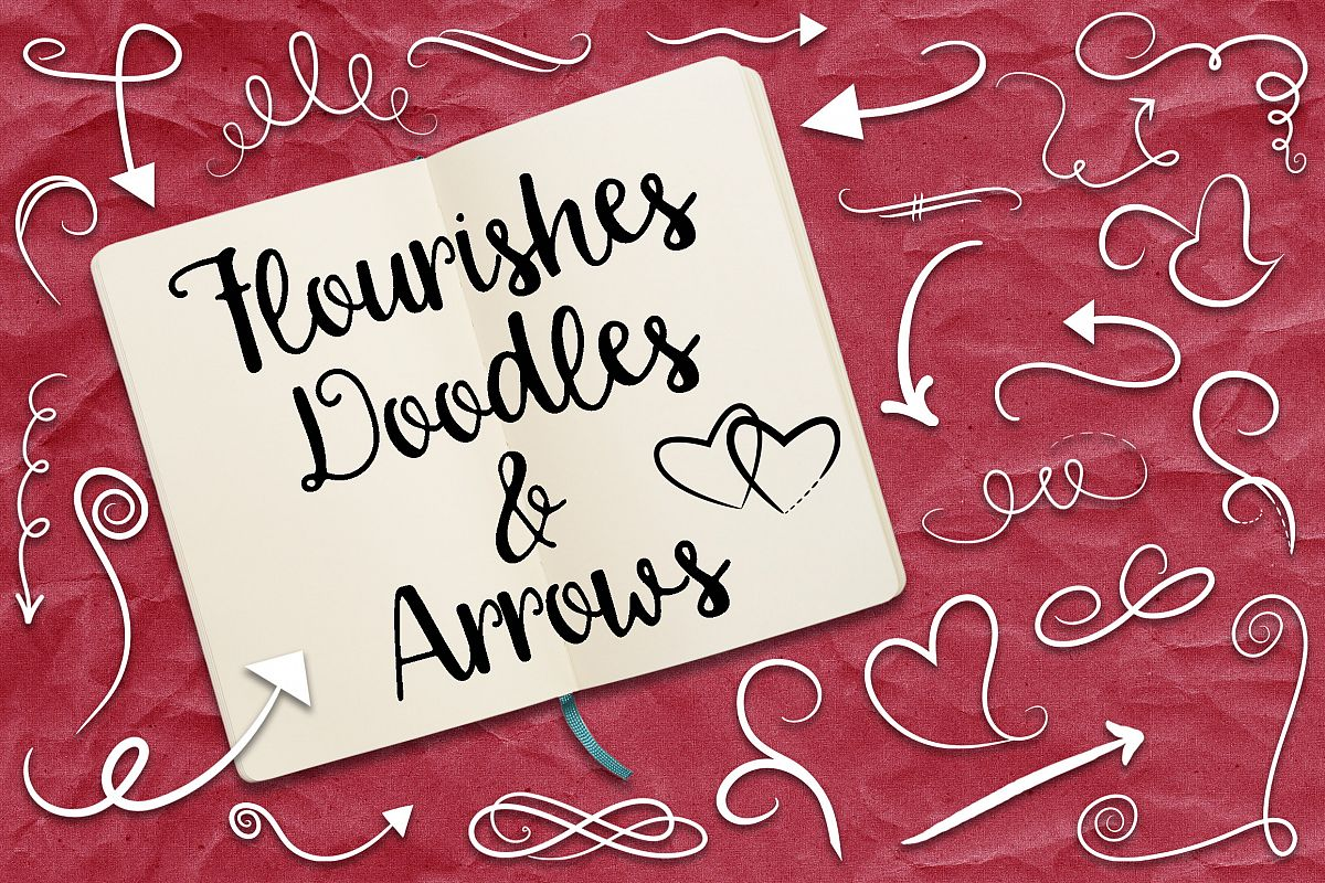 Flourishes, Doodles and Arrows Vector Clip Art example image