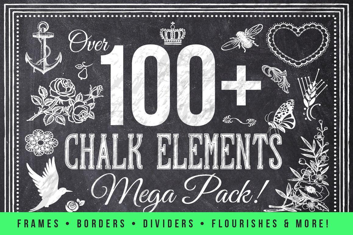 100 Chalk Elements Mega Bundle example image 1