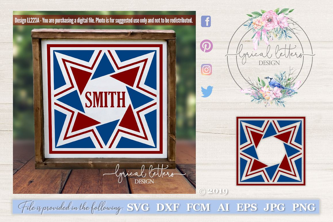 Barn Quilt Pattern Design 1 SVG DXF FCM LL223A example image 1