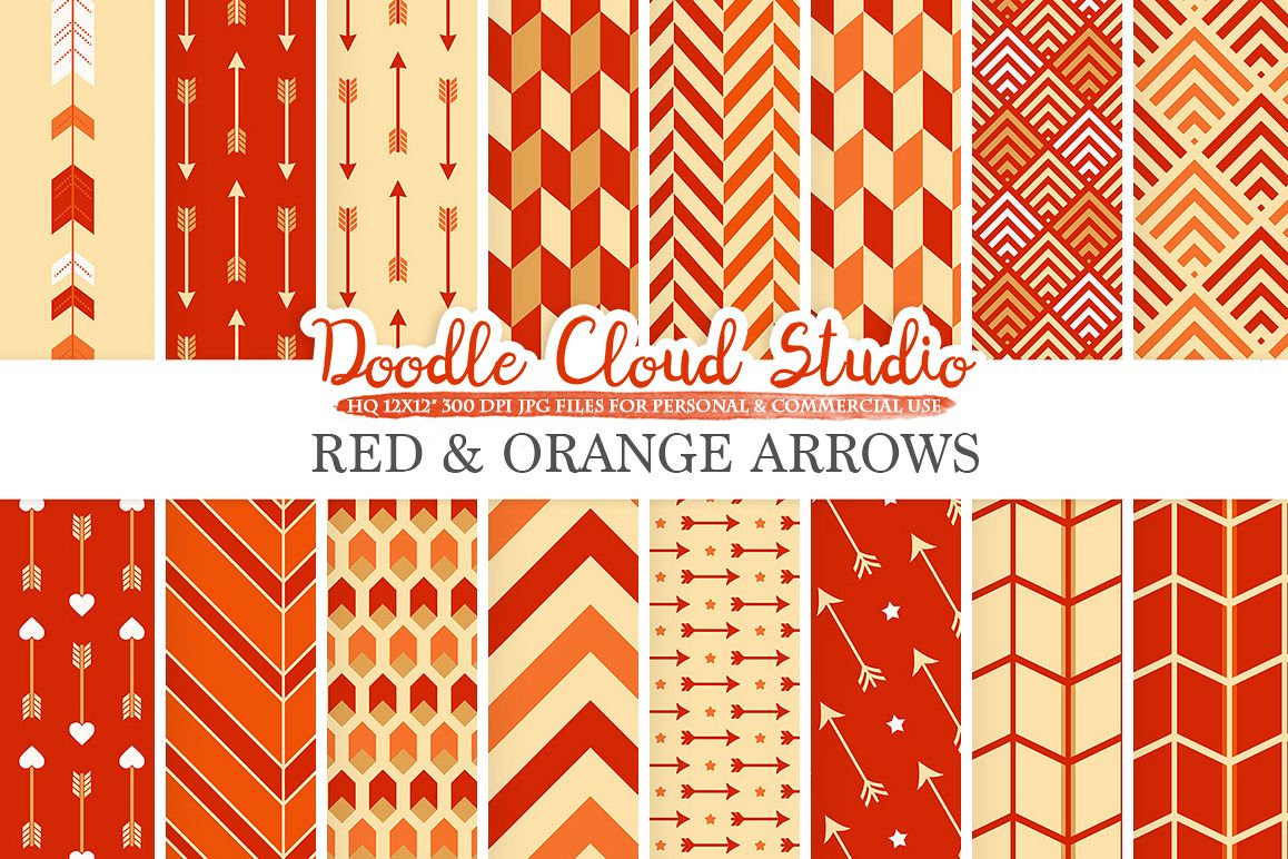 Red and Orange Arrows digital paper, Arrow patterns, tribal archery chevron triangles Red and Gold background for Personal & Commercial Use example image 1