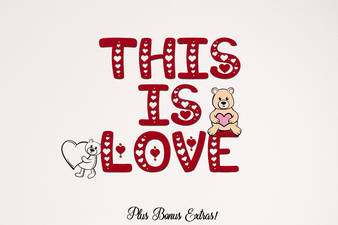 This is Love - Valentine Craft Font & Bonus Extras example image 1