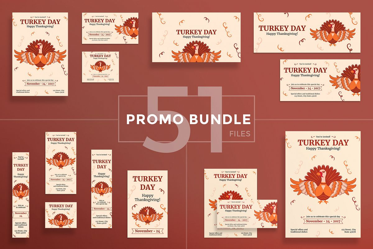 Thanksgiving Celebration Design Templates Bundle example image 1