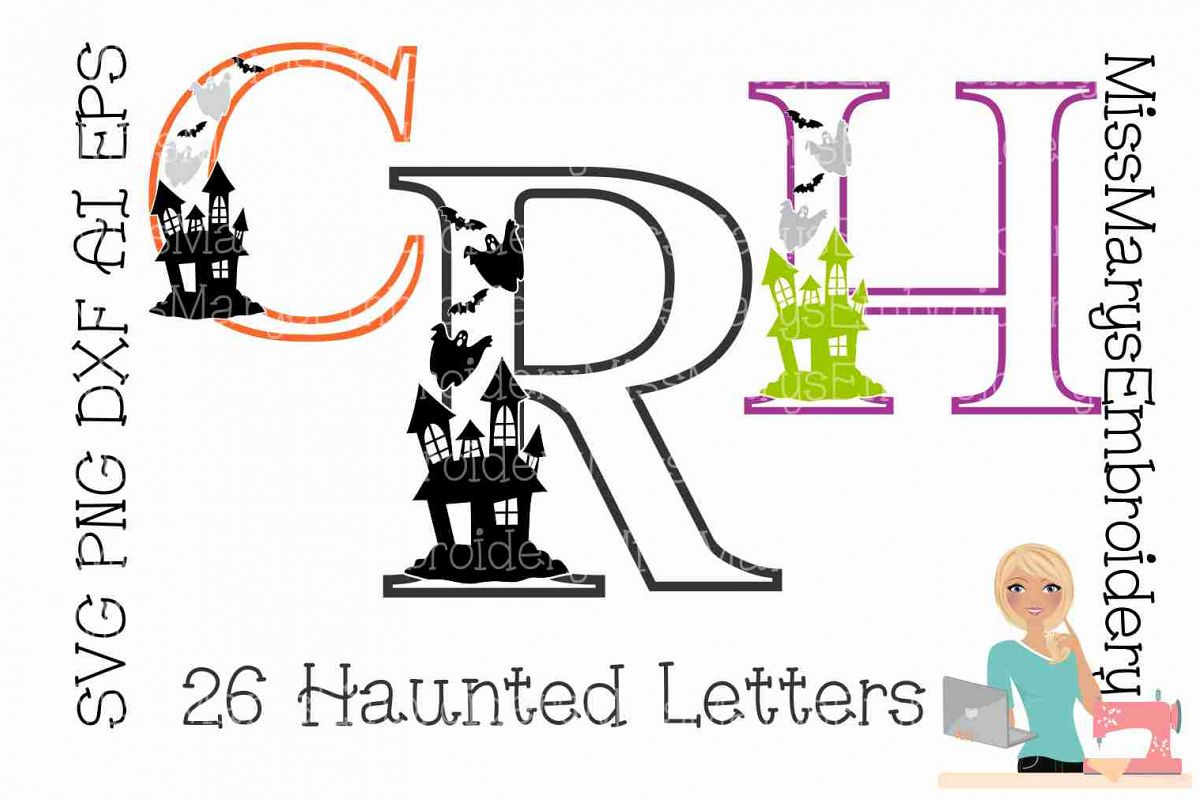 Haunted Halloween Letters SVG Cutting File PNG DXF AI EPS example image 1