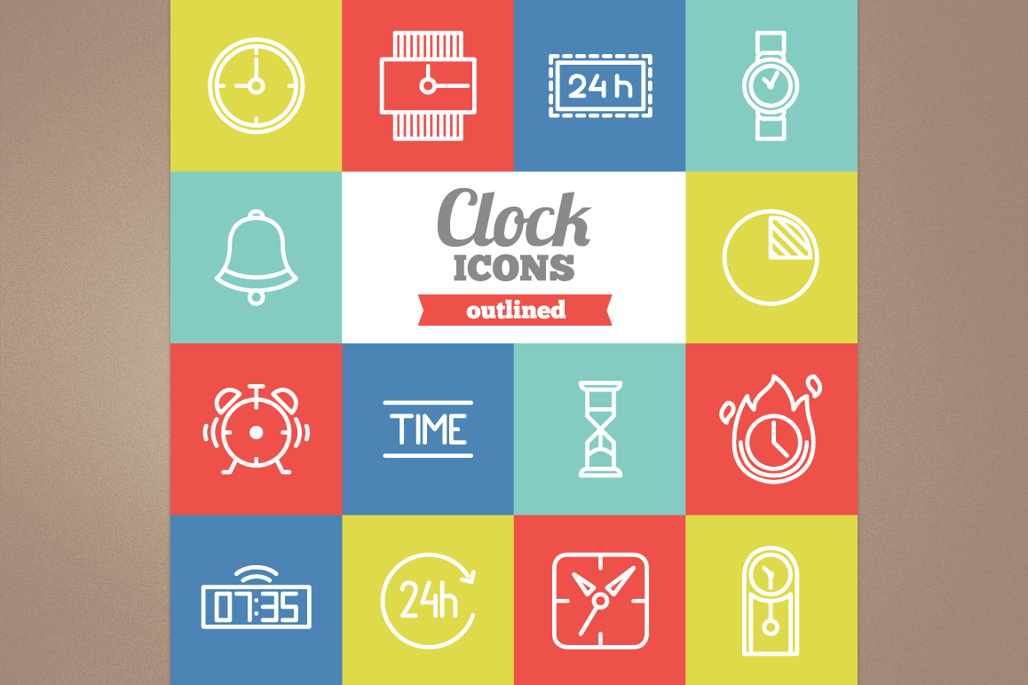 Outlined Clock Icons example image 1