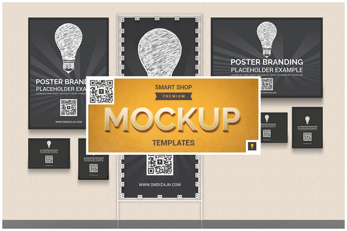Back Wall Banner & Posters Mockup example image 1