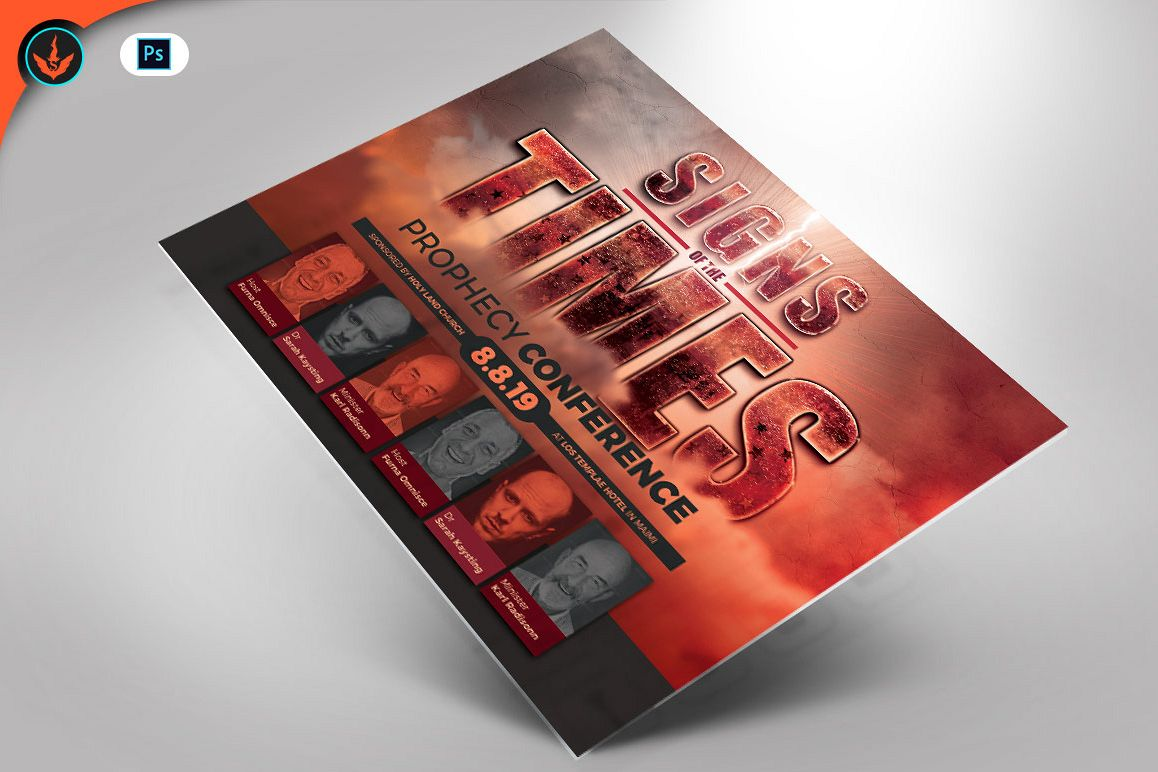Signs of the Times Prophecy Conference Flyer Template example image 1