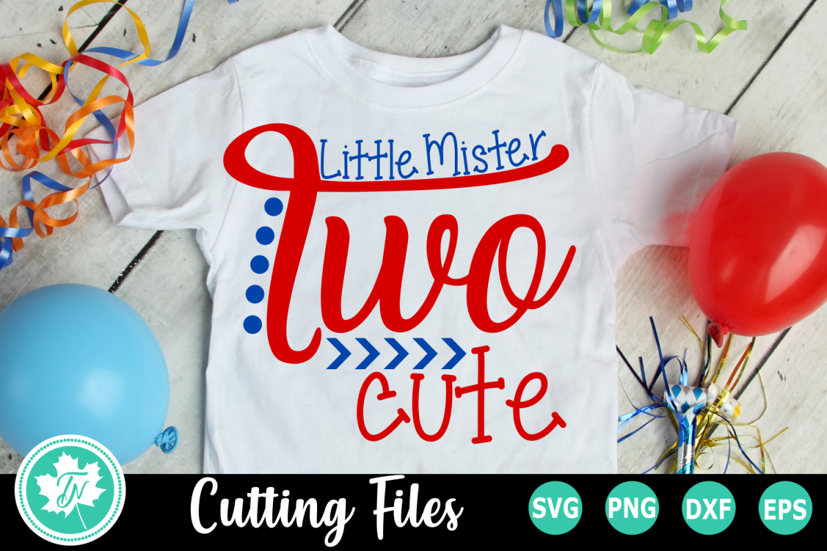 Little Mister Two Cute - A Second Birthday SVG Cut File example image 1