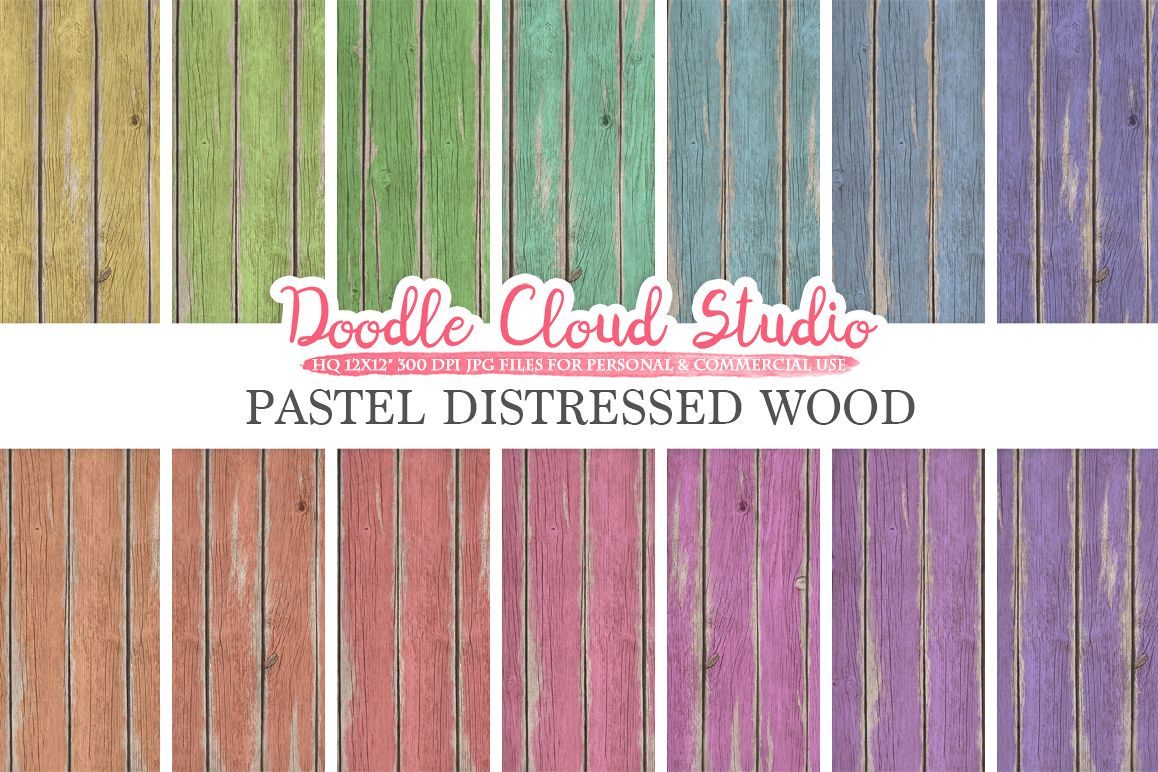 Distressed Wood digital paper, Pastel Rainbow Colors, Old Fence Wood Backgrounds, Real Rustic Wood textures, Instant Download Commercial Use example image 1
