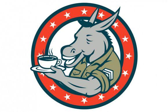 Sergeant Donkey Coffee Circle Cartoon example image 1